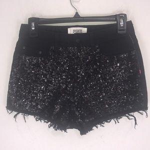 Pink Victoria's Secret Sequin Denim Shorts